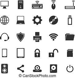 blanc, informatique, fond, icônes