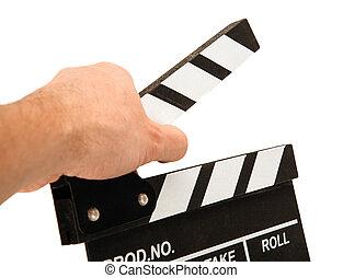 blanc, inscriptions, film, main, noir, battant, table