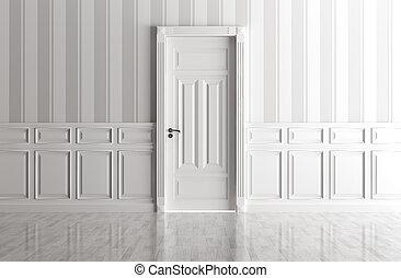 blanc, intérieur, à, classique, porte