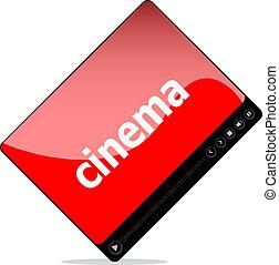 blanc, interface, cinéma, joueur, isolé, média