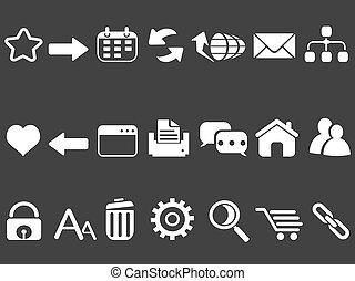 blanc, internet web, icônes, ensemble