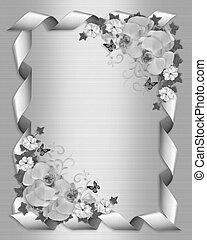 blanc, invitation, mariage, orchidées