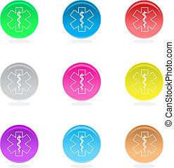 blanc, isolé, asclepius, icônes