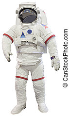 blanc, isolé, astronautes
