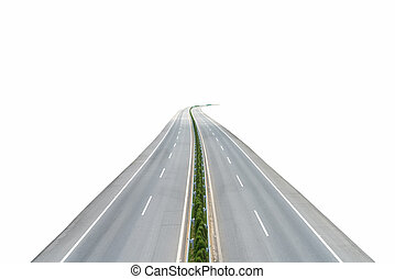 blanc, isolé, autoroute