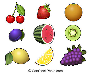 blanc, isolé, collection, fruits