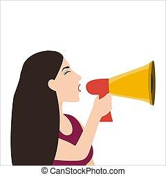 blanc, isolé, femme, parle, porte voix, son