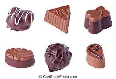blanc, isolé, fond, chocolat