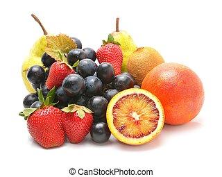 blanc, isolé, fond, fruits