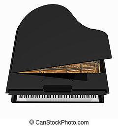 blanc, isolé, fond, grand-piano