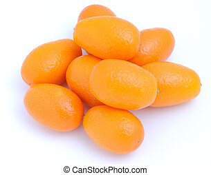 blanc, isolé, fond, kumquats