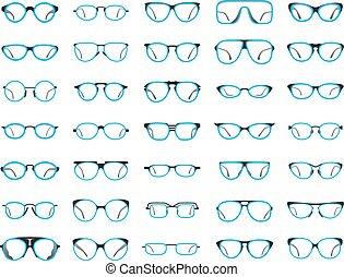 blanc, isolé, fond, lunettes
