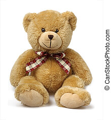 blanc, isolé, ours, teddy