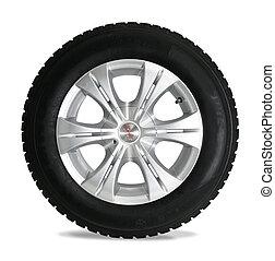 blanc, isolé, pneu
