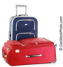blanc, isolé, valises