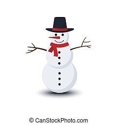 blanc, isolé, vecteur, arrière-plan., bonhomme de neige, illustration