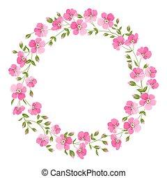 blanc, isolé, vecteur, sur, arrière-plan., illustration, wreth, fleur, lin