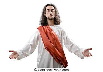 blanc, jésus christ, personifacation, isolé