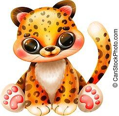 blanc, jaguar, dessin animé, mignon, fond