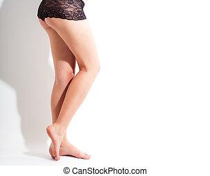 blanc, jambes, fond, culotte, noir, isolé, sexy