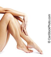 blanc, jambes, fond, isolé, femme