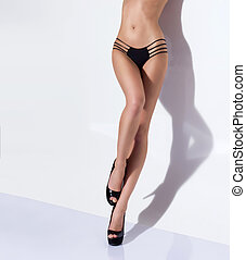 blanc, jambes, fond, sur, sexy