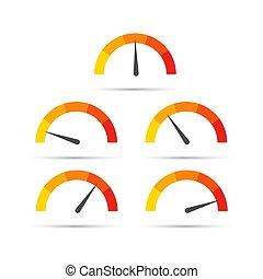blanc, jauge, coloré, vecteur, demi-cercle, arrière-plan., plat, style., température, illustration., isolé, mesurer, rond, échelle