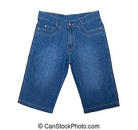 blanc, jean, isolé, short