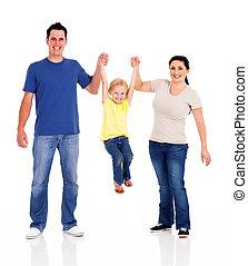 blanc, jouer, famille, heureux