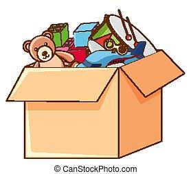 blanc, jouets, boîte, entiers, fond