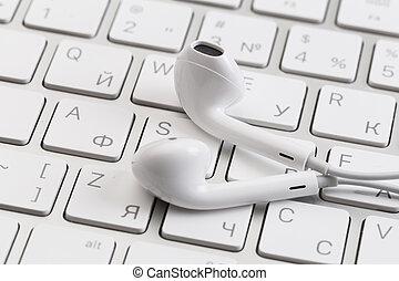 blanc, keyboard., écouteurs