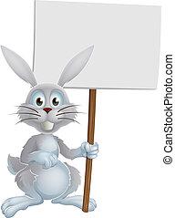 blanc, lapin pâques, signe