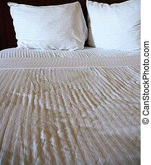 blanc, lit, luxueux