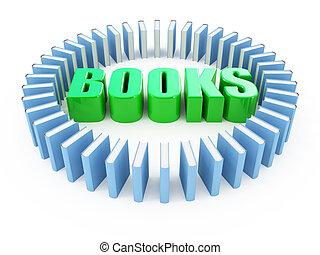 blanc, livres, isolé