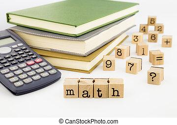 blanc, livres, math, fond, rédaction