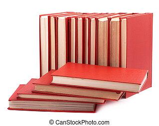 blanc, livres, tas, arrière-plan rouge