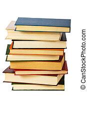 blanc, livres, tas, isolé, fond