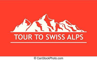 blanc, logo, de, suisse, montagnes