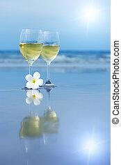 blanc, lunettes, deux, vin