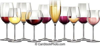 blanc, lunettes, rouges, rempli, vin