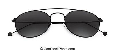 blanc, lunettes soleil, isolé, fond