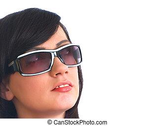 blanc, lunettes soleil, isolé, girl, jeune