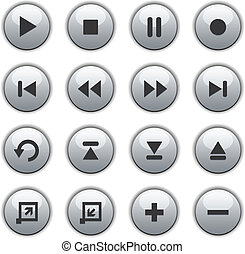 blanc, lustré, média, boutons