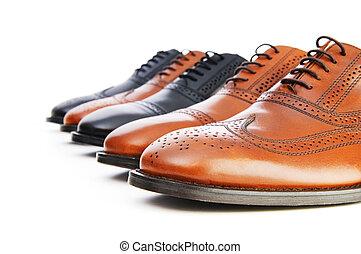 blanc mâle, chaussures, fond, isolé