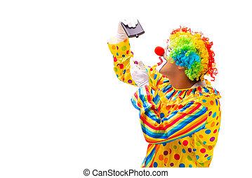 blanc mâle, isolé, clown