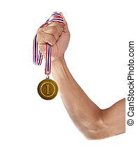 blanc, médaille, isolé, or, main
