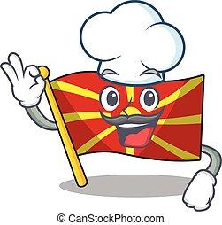 blanc, macédoine, porter, chapeau, caractère, déguisement, chef cuistot, drapeau, dessin animé