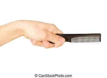 blanc, main, brosse cheveux, homme