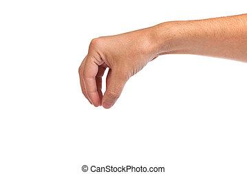 blanc, main, mâle, quelque chose, atteindre