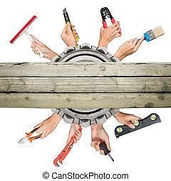 blanc, mains, outils, tenue, peuples